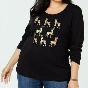 Karen Scott - Cotton Reindeer-print T-shirt